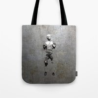 han solo Tote Bags featuring Han Solo Carbonite by Inara