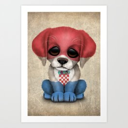 Cute Puppy Dog with flag of Croatia Art Print