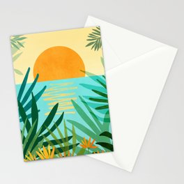 Tropical Ocean View / Landscape Illustration Stationery Cards
