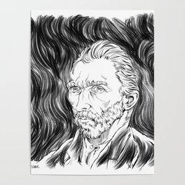 Van Gogh in black Poster