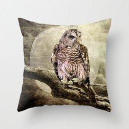 Rustic Barred Owl Bird against a Full Moon A270 Throw Pillow