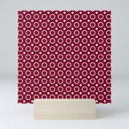 Dark red and white circles and small polka dots pattern Mini Art Print
