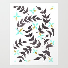 Floral pattern - mint, black and gold Art Print