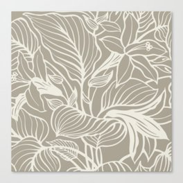 Gray Grey Alabaster Floral Canvas Print
