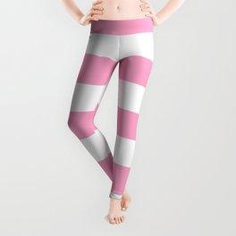Carnation pink - solid color - white stripes pattern Leggings