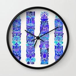 Tiki Totems – Indigo Palette Wall Clock