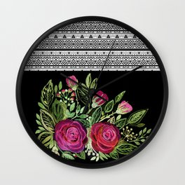 Rustic patchwork watercolor roses on black Wall Clock