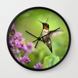Hummingbirds Welcome Wall Clock