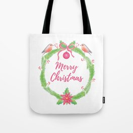 """Watercolor Holly Wreath """"Merry Christmas"""" Tote Bag"""