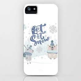 Let It Snow Winter Fun Illustration iPhone Case