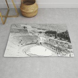 Travel Escape | Arena Ruins Ephesus Black and White Stadium European Mountain Wilderness Landscape Rug