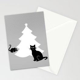 Cat and Mouse around the Christmas Tree Stationery Cards