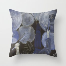 Drums the blues Throw Pillow