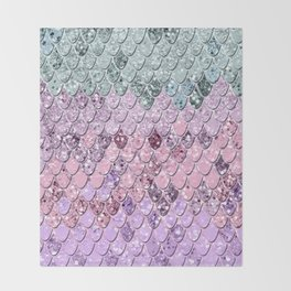 Mermaid Scales with Unicorn Girls Glitter #4 #shiny #pastel #decor #art #society6 Throw Blanket