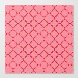 Quatrefoil - Pink & Red  Canvas Print