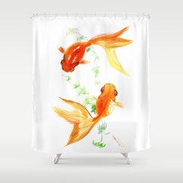 Goldfish, Feng Shui Asian Watercolor Shower Curtain