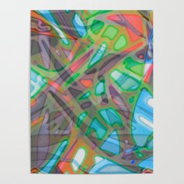 Colorful Abstract Stained Glass G299 Poster