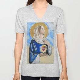 Immaculate Heart of Mary Unisex V-Neck