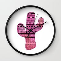 cactus Wall Clocks featuring cactus by messy bed studio