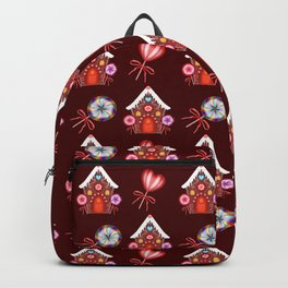 Gingerbread houses, hearts candy lollipops. Retro vintage cozy Christmas pattern Backpack