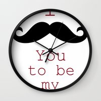 moustache Wall Clocks featuring Moustache by Natalie Reed