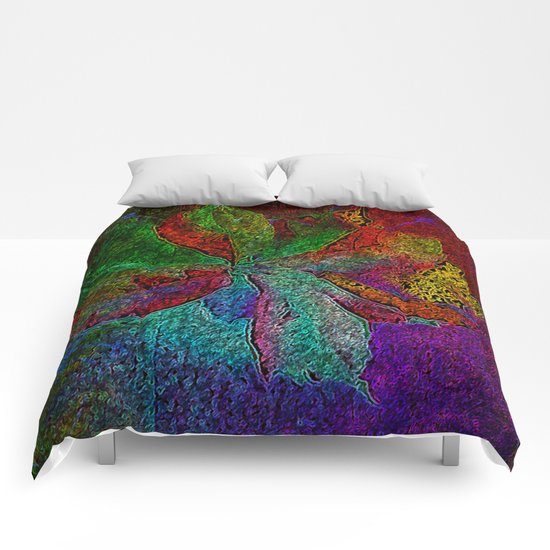 Abstract fall leaves in multicolor palette  Comforters