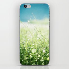 Dew Nature Photography, Green Blue Morning Dew Sparkle, Colorful Grass Photography iPhone Skin