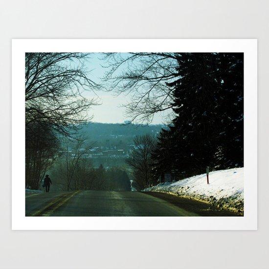 Amish Man Walking Home Art Print