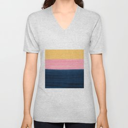 Summer Blue Pink Yellow Strokes Stripes Paint Unisex V-Neck
