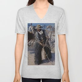 """""""Roping in the Corral"""" by NC Wyeth Unisex V-Neck"""