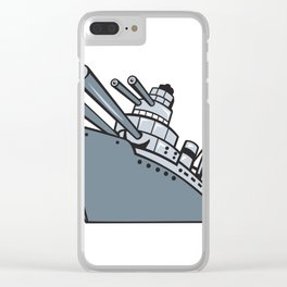 Cartoon Battleship With Big Guns Clear iPhone Case