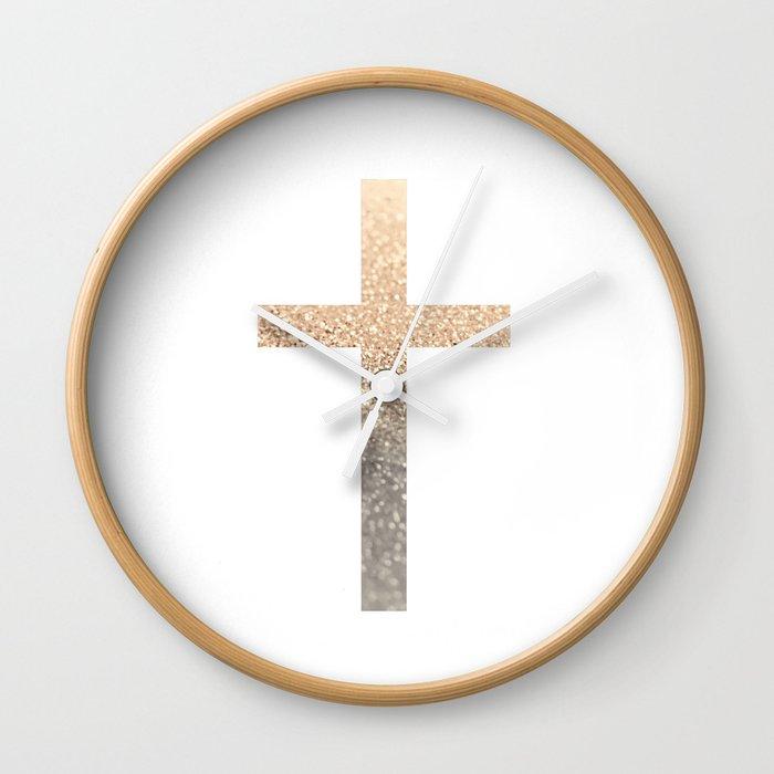 Gold Cross Wall Clock By Monikastrigel Society6