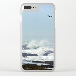 Floating above the crashing waves Clear iPhone Case
