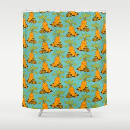 Cute Carrot on Vacation Chilling at the Beach Feeling Relax Shower Curtain