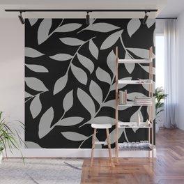GRAY LEAVES BOUNTIFUL Gray and Black Fashion Wall Mural