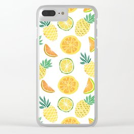 Fresh tropical fruits. Pineapple, orange, lime, grapefruit. Clear iPhone Case