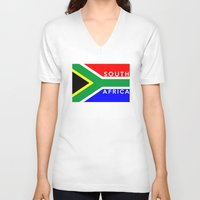 south africa V-neck T-shirts featuring South Africa country flag name text by tony tudor