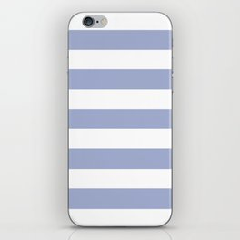 Wild blue yonder - solid color - white stripes pattern iPhone Skin