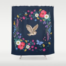 Owl and Wildflowers Shower Curtain