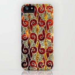 Indonesian batik, fern, brown, dark brown, green iPhone Case