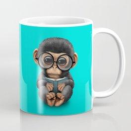 Cute Blue Baby Chimp Reading a Book Coffee Mug