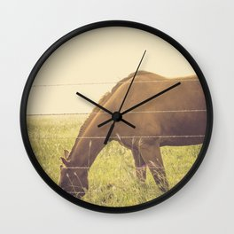 Texas Horse Grazing Wall Clock