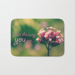 Spring Blooming Pink Flowers with Green Bokeh Background Bath Mat