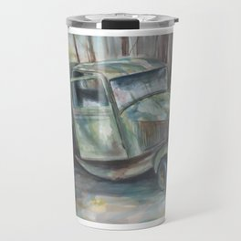 Old green truck in the woods Travel Mug