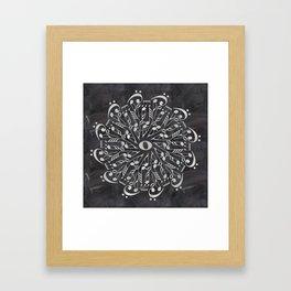 Musical mandala on chalkboard Framed Art Print