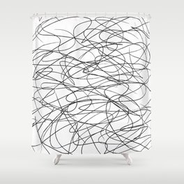 Hand Drawn Scribbles (black/white) Shower Curtain