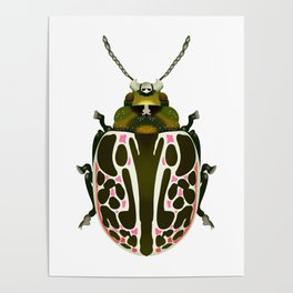 Green, White, Pink Beetle Poster