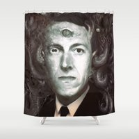 lovecraft Shower Curtains featuring H.P. Lovecraft  by MATT DEMINO