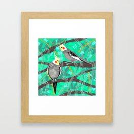 Cockatiels in Green Framed Art Print