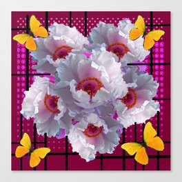 BUTTERFLIES  WHITE TREE PEONY FLOWERS  BURGUNDY ART Canvas Print